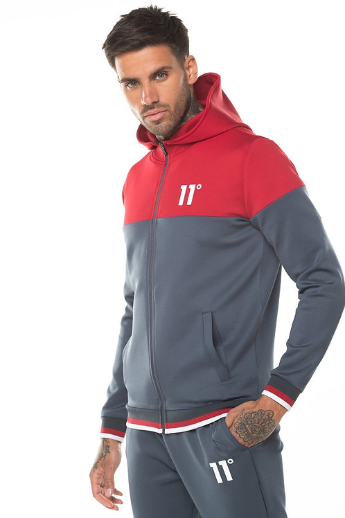 Ribbed Full Zip Poly Track Top With Hood - Anthracite/Ski Patrol Red