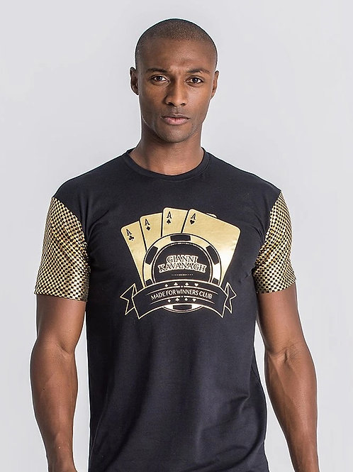 Black Lucky Fever Tee With Gold Sleeves
