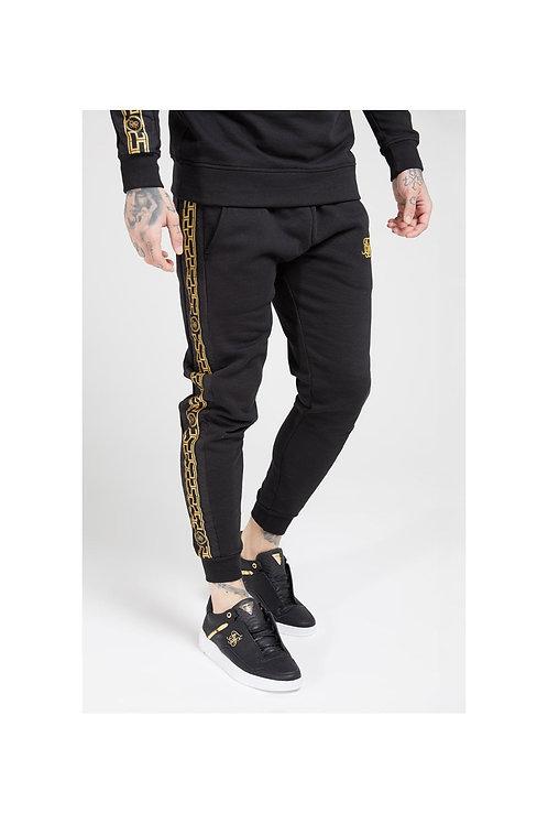 SikSilk   Muscle Fit Nylon Panel Joggers – Black & Gold