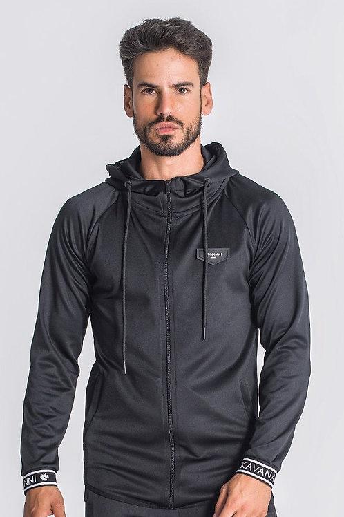 Black Core Elastic Hoodie Jacket