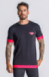 Black-Neon-Coral-Pink-Reaction-Elastic-T