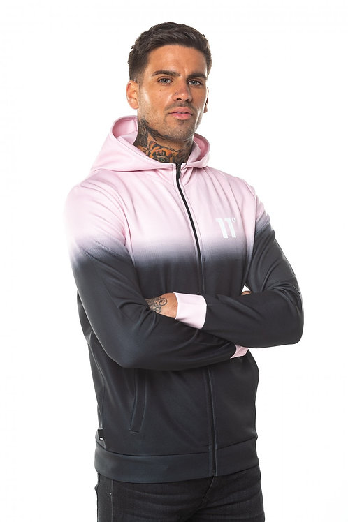 Dot Fade Full Zip Poly Track Top With Hood - Anthracite/Powder Pink