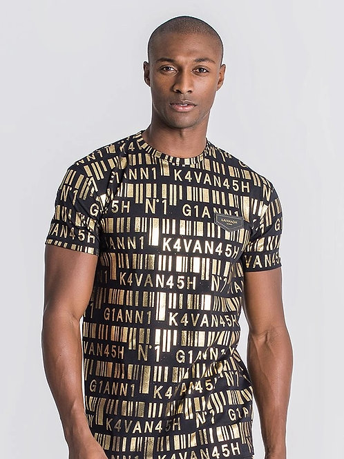 BLACK AND GOLD BARCODE TEE