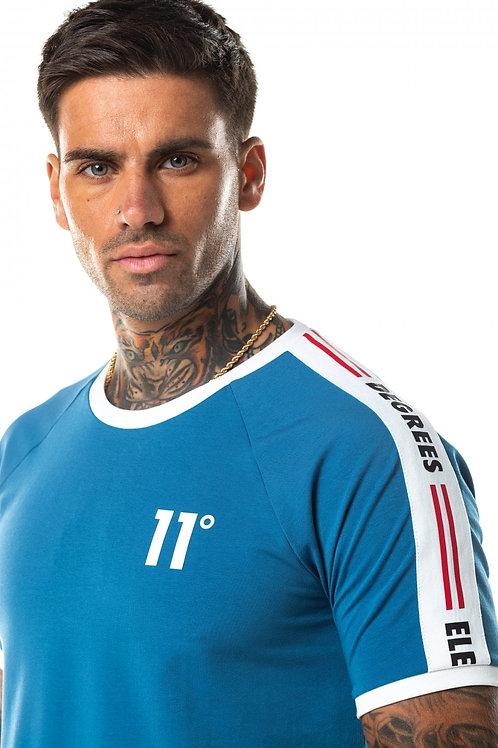 Taped Ringer T-Shirt - Deep Water Blue/White