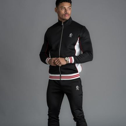 GK RICE CONTRAST TIPPED POLY TRACKSUIT TOP - BLACK