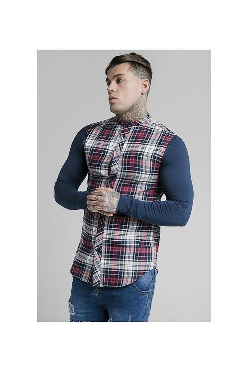 SikSilk  L/S Flannel Grandad Shirt - Navy