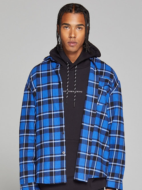 GOOD FOR NOTHING Oversized Blue Check Shirt