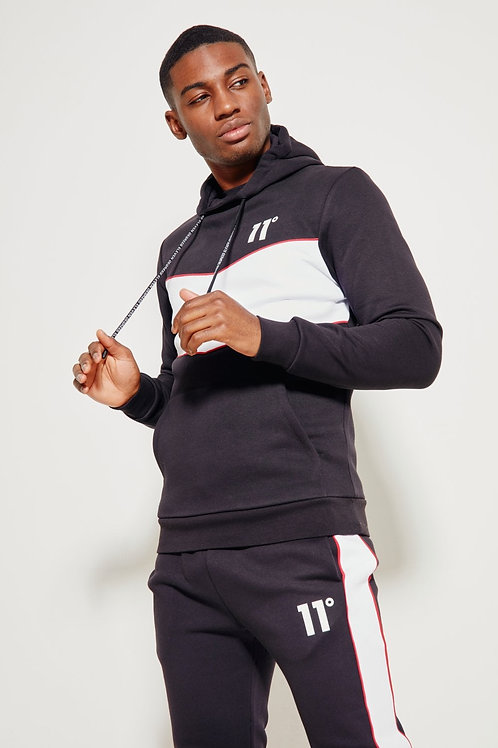 Colour Block Piped Pullover Hoodie - Black / White / Goji Berry Red