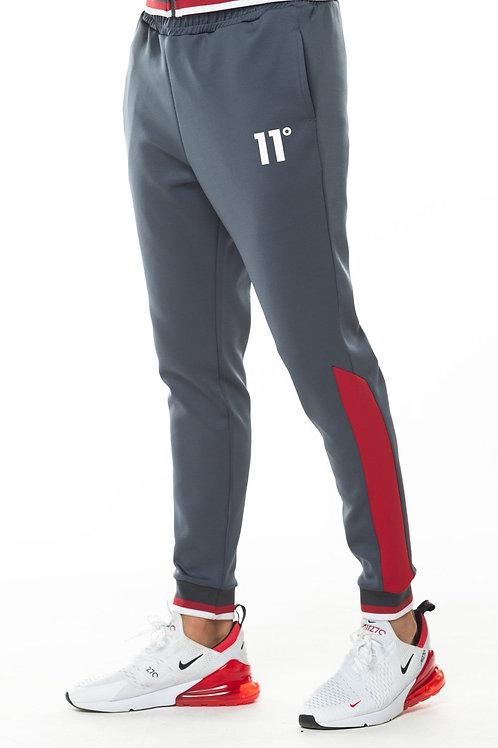 Ribbed Poly Track Pants - Anthracite/Ski Patrol Red