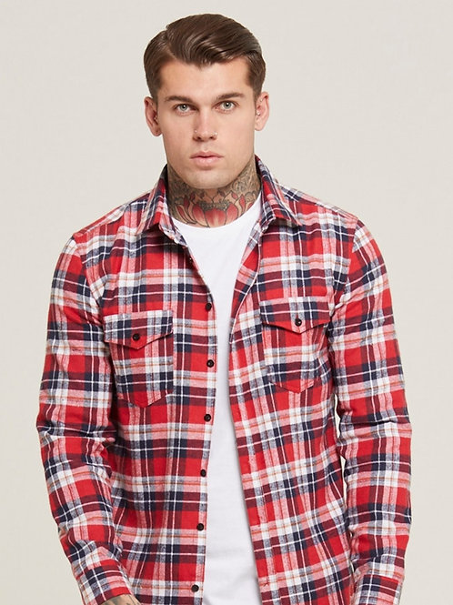 GOOD FOR NOTHING Crimson Check Shirt
