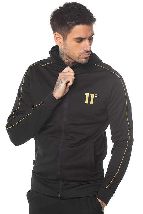 Poly Full Zip Track Top With Hood - Black/Gold