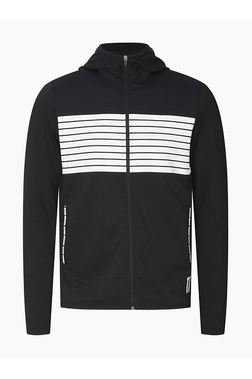 Cut And Sew Printed Stripe Full Zip Track Top With Hood - Black