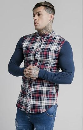 siksilk-l-s-flannel-grandad-shirt-navy-p