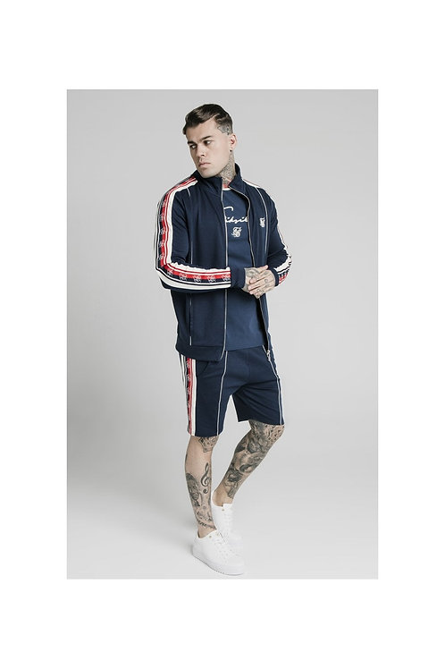 SikSilk  Retro Funnel Neck Tape Zip Through Track Top - Navy