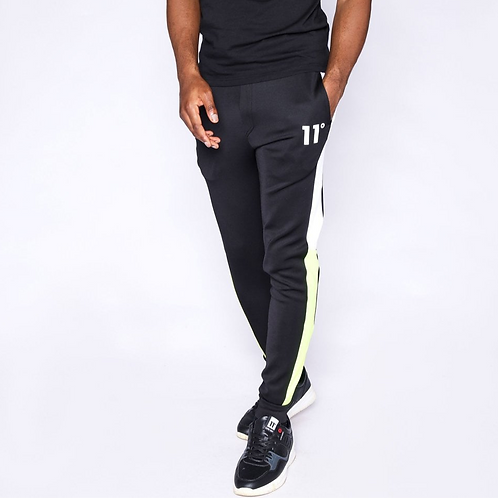 Cut And Sew Colour Block Poly Track Pants - Black / Neon Lime / White