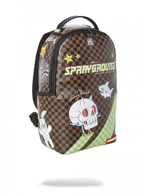 Checkered Shark Backpack in BROWN, THUNDER