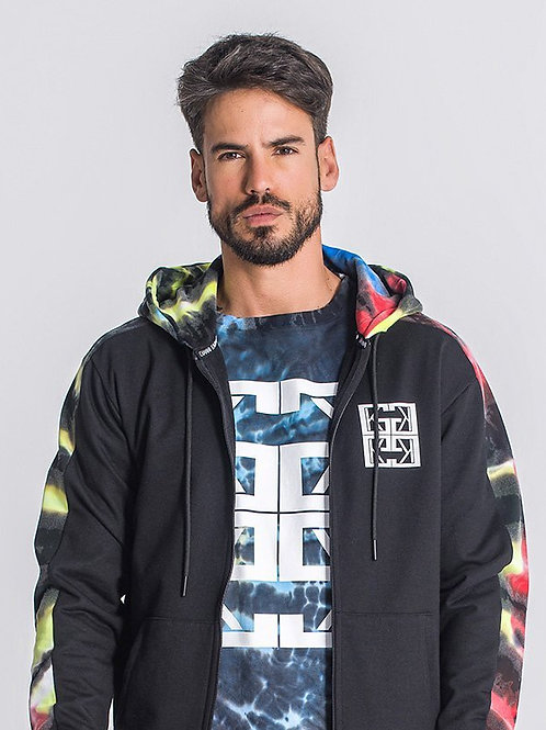 Black Underground Tie Dye Hoodie Jacket