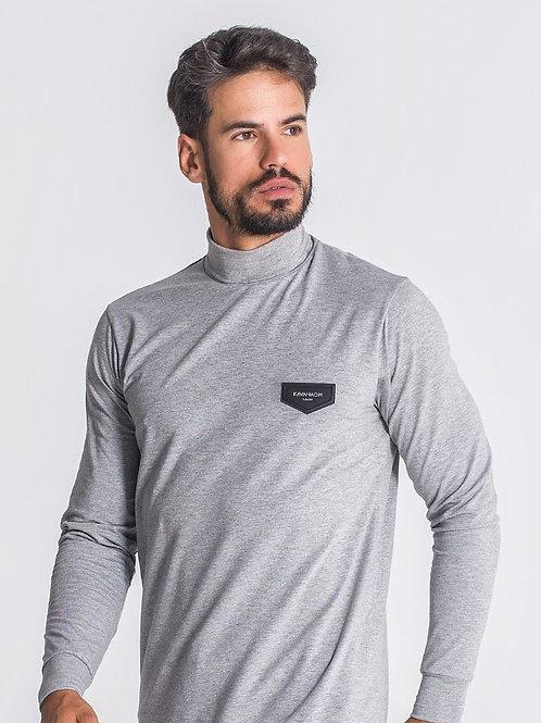 Grey Melange Core Turtleneck Long Sleeve Tee