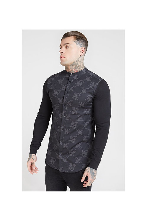 SikSilk  Muscle Fit Oxford Cotton Shirt - Black
