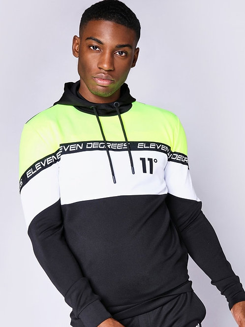 Cut And Sew Colour Block Poly Track Top With Hood - Black / Neon Lime / White