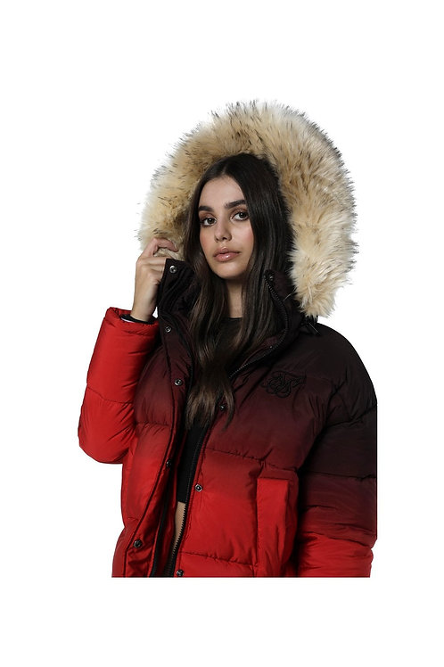 SikSilk  Short Parka Jacket - Black & Red