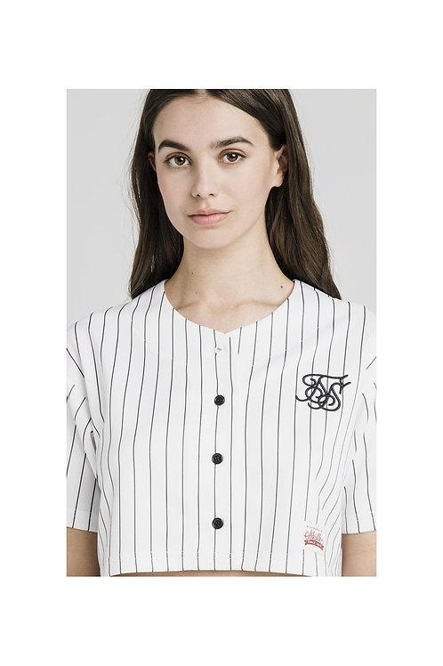 SikSilk  Original Baseball Jersey Crop – White