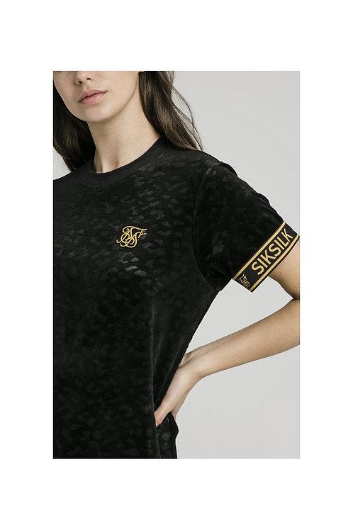 SikSilk Debossed Velour T-Shirt Dress - Negro