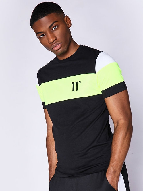 Cut And Sew Sleeve Panel T-Shirt - Black / Neon Lime / White