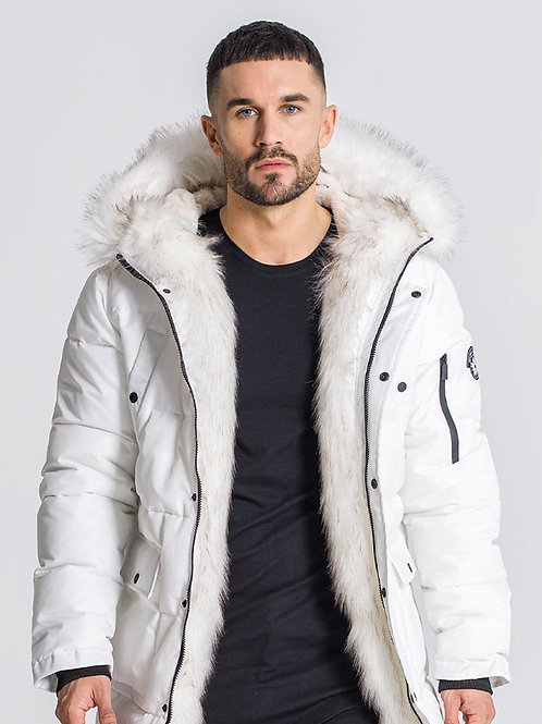 White Wolf Coat With White Faux Fur