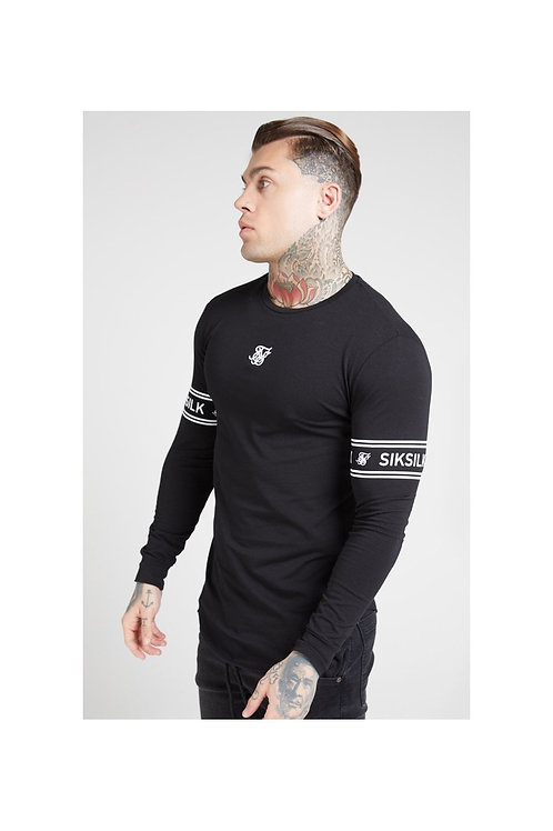 SikSilk  L/S Branded Gym Tee – Black