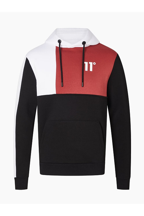 Boxy Block Pullover Hoodie - Black / Brick Red / White