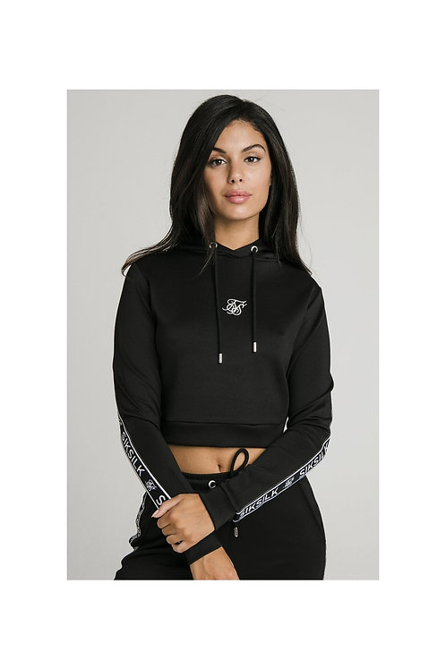 SikSilk  Arc Tech Cropped Track Top - Black