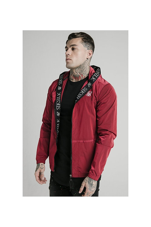 SikSilk  Zip Through Windbreaker Jacket - Red
