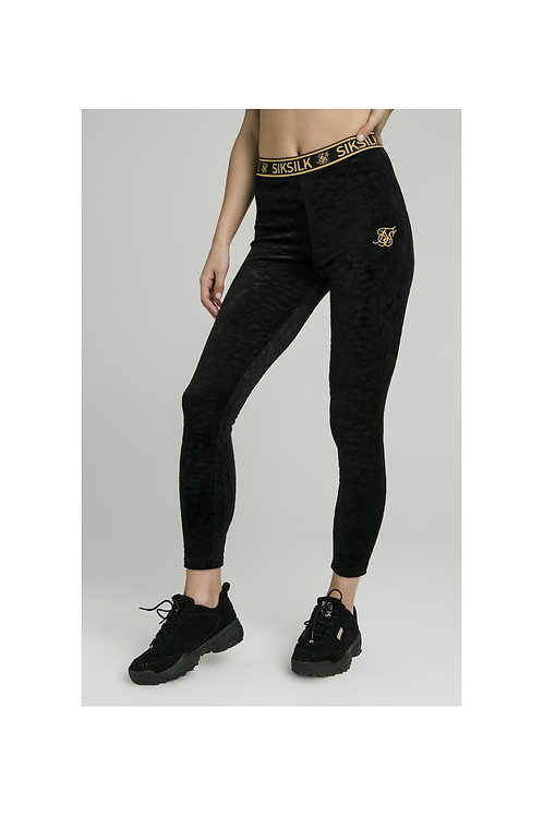 SikSilk  Debossed Velour Leggings - Negro