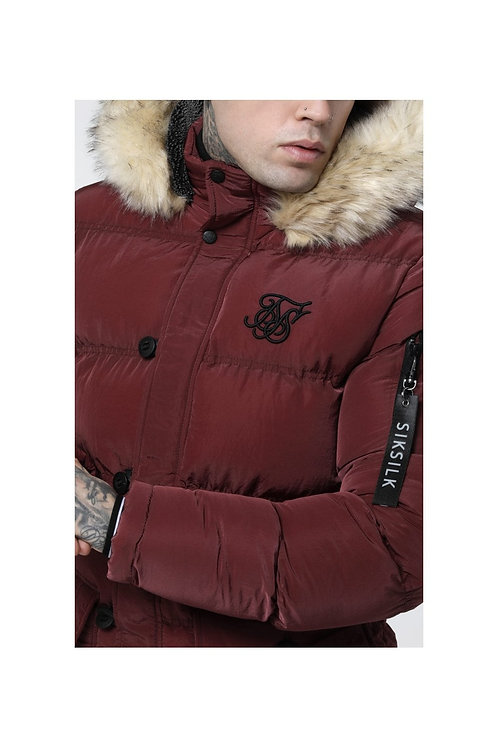 SikSilk  Shiny Puff Parka – Burgundy