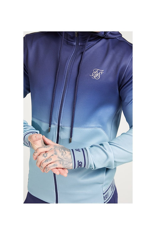 SikSilk  Agility Zip Through Hoodie - Urban Blue & Grey