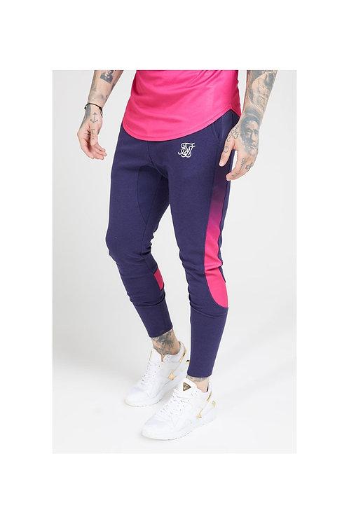 SikSilk  Athlete Tech Fade Track Pants – Navy & Neon Fade