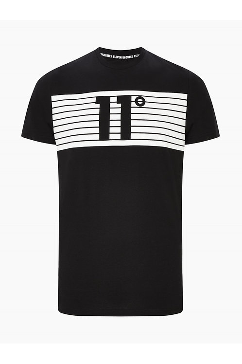 Placement Stripe Logo T-Shirt - Black