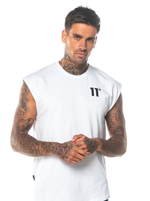 Core Cut Off Sleeve T-Shirt - White