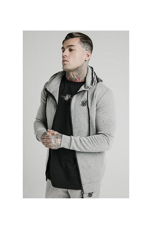 SikSilk  Muscle Fit Zip Through Hoodie - Grey Marl