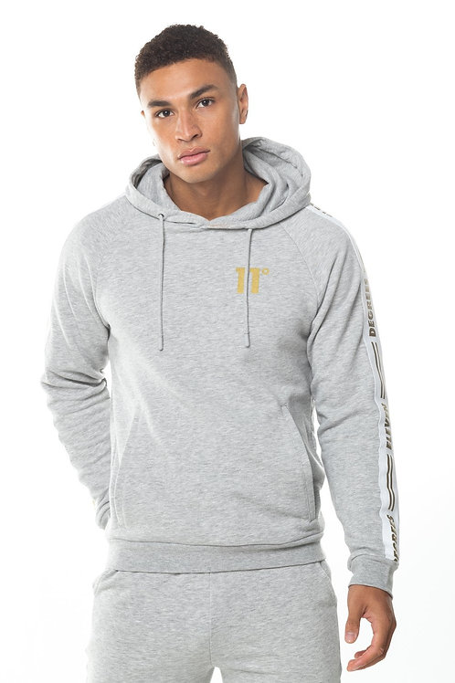 Taped Pullover Hoodie - Light Grey Marl/Gold