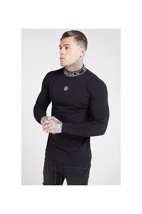 SikSilk  L/S Branded High Collar Tee – Black