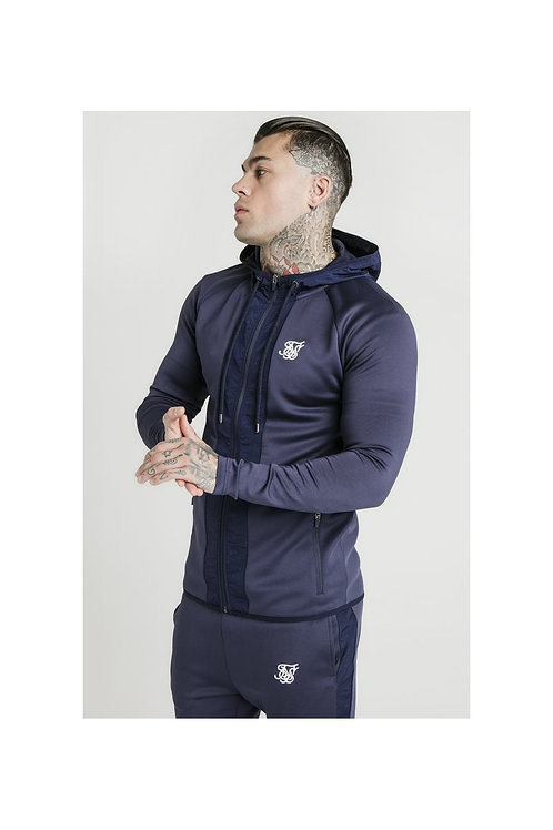 SikSilk Creased Nylon Zip Through Hoodie – Navy