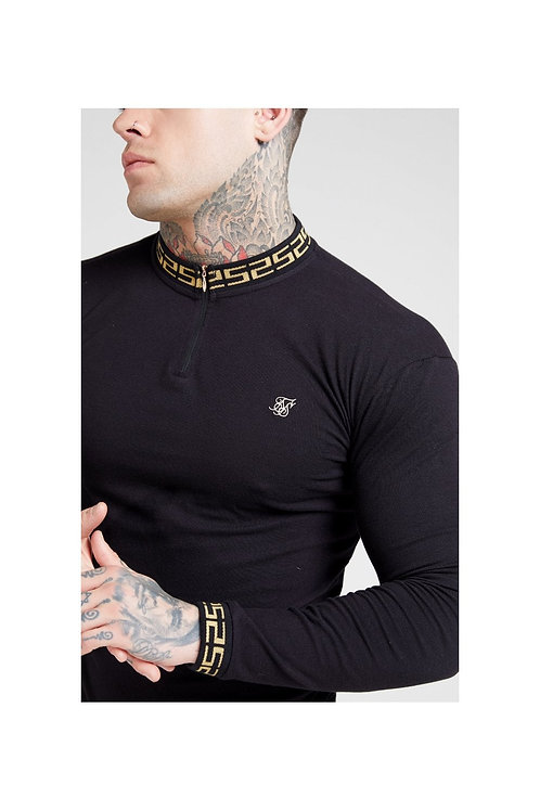 SikSilk   L/S Chain Rib Collar Polo – Black & Gold
