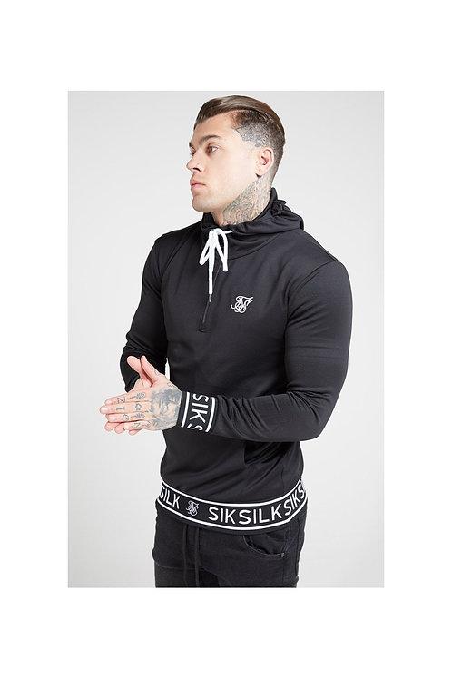 SikSilk  1/4 Zip Branded Rib Hoodie - Black