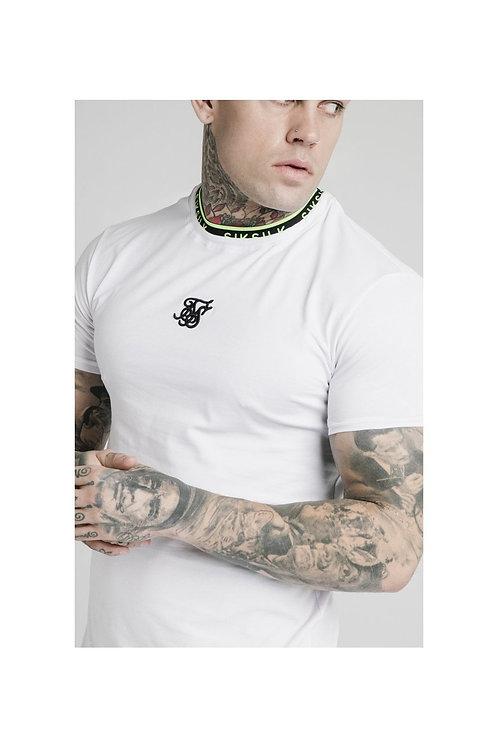 SikSilk  Straight Hem Tape Collar Gym Tee - White