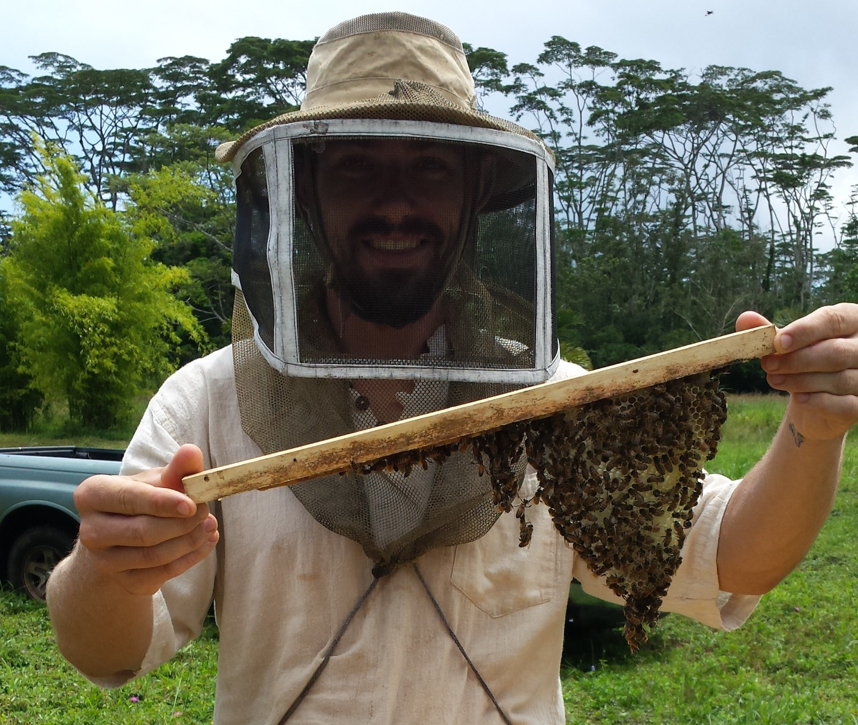 John's first hive inspection ~2015