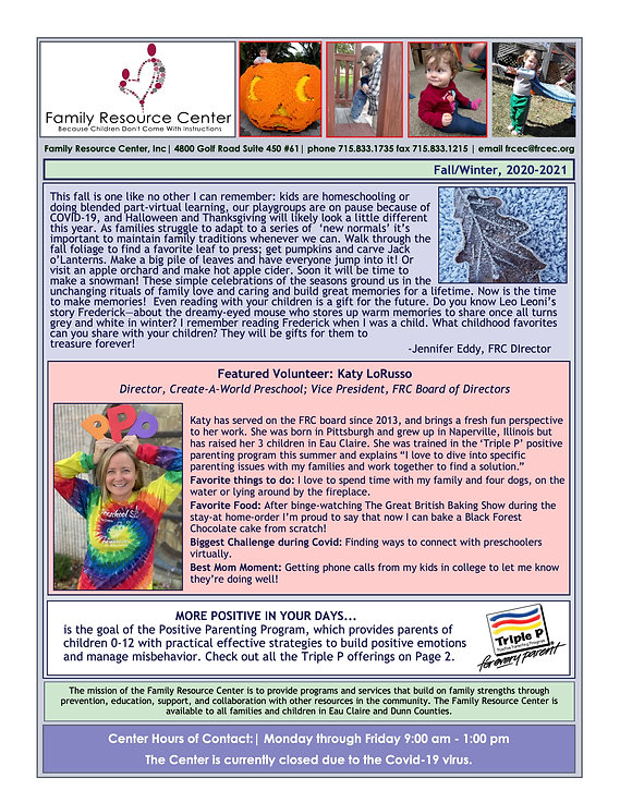 FRC Newsletter Fall and Winter 2020 PAGE