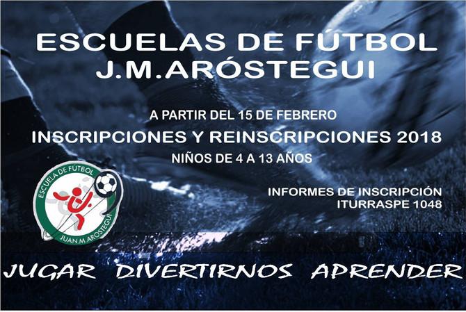 """Están abiertas las inscripciones para la Escuela de Fútbol """"Juan Manuel Aróstegui"""" en el c"""