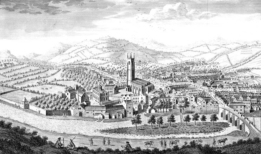 Charles Delafontaine's 'South East Prospect of the Town of Tavistoke', 1741